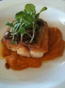 Oven baked Snapper fillet with roasted pumpkin, pinenuts, tea smoked raisons & smoked aioli